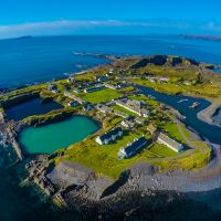 An aerial shot of Easdale Island