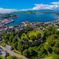 An aerial shot of Oban town